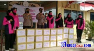 HUT Bhayangkara Ke 75. Polres Bengkalis Bagikan Paket Sembako