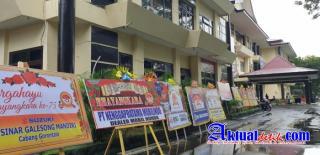 Mapolda Gorontalo Di Penuhi Karangan Bunga Ucapan HUT Bhayangkara Ke-75