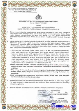 Pencabutan Maklumat Kapolres Pangkalpinang, Setelah Dikeluarkan SK Gubernur Kep.Babel