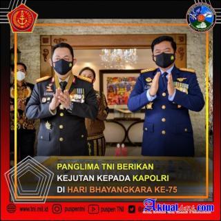 Panglima TNI Berikan Kejutan Kepada Kapolri, di Hari Bhayangkara ke-75