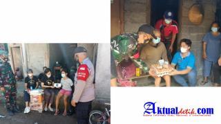 Kompak Bhabinkamtibmas dan Bhabinsa Saling Bantu Salurkan Sembako