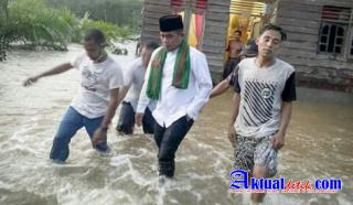 Bupati H.Zukri Tinjau Langsung Lokasi Banjir di 2 Desa di Kecamatan Bunut