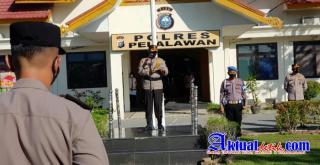 Upacara Laporan Kenaikan Pangkat Personel Polres Pelalawan Periode 1 Juli 2021